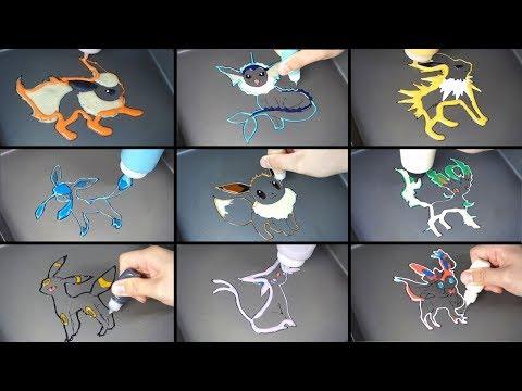 Pokemon All Eevee Evolutions Pancake Art / satisfying Videos for KIds with pancake