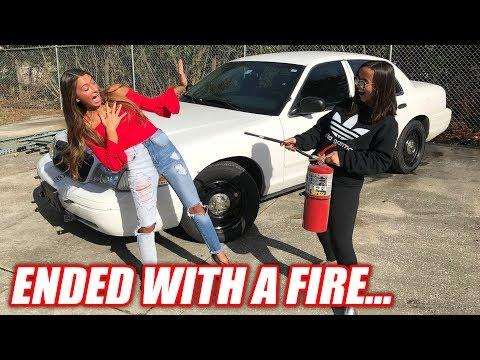 Girlfriend vs. Girlfriend Burnout Contest... Literally Started a Forest Fire
