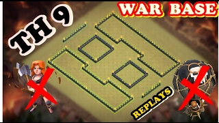 CLASH OF CLANS | TH 9 WAR BASE | 3 STAR IMPOSSIBLE | INSANE WAR BASE | BEAT TEST BY TH10 | REPLAYS