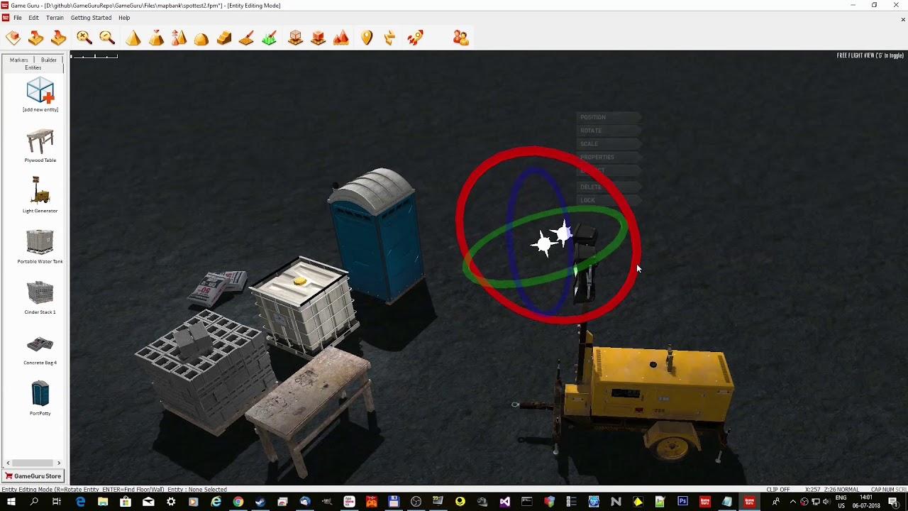 GameGuru - Extended dynamic light system, spot lights test