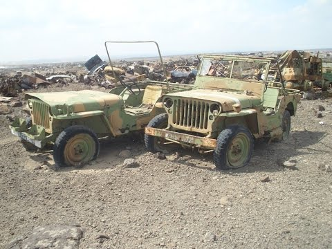 Military Scrap yard full of Jeeps in Djibouti. East Africa