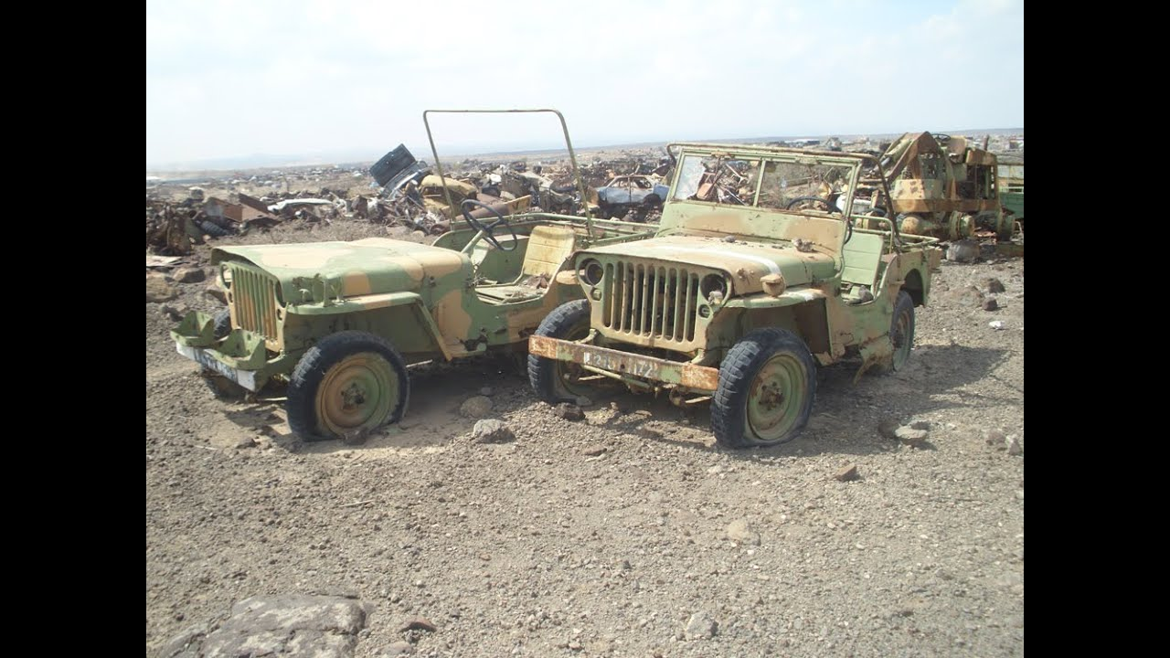 Military Scrap Yard Full Of Jeeps In Djibouti East Africa