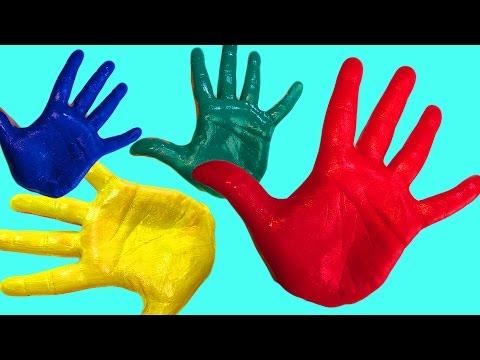 Песня семья пальчиков на русском Пальчиковые краски Учим цвета Развивающее видео Песня для детей