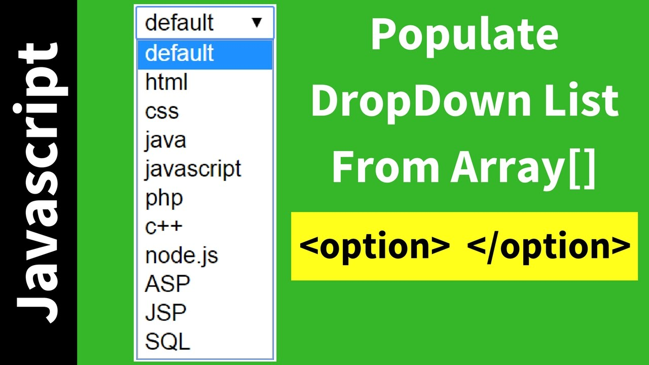 How To Populate DropDown List With Options From Array Using Javascript [  with source code ]