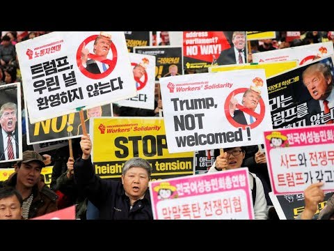 On Asia Trip, Trump Met by Protests Calling on U.S. to Open Diplomatic Relations with North Korea