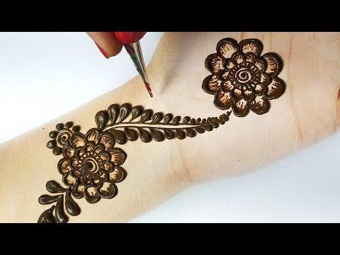 मेहँदी लगाना सीखे  - आसान फ्लावर मेहँदी डिज़ाइन - Stylish Arabic mehndi Design