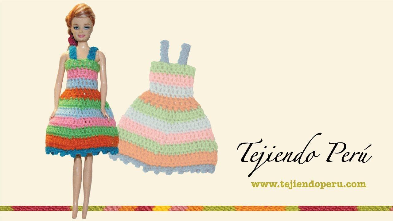 Vestido para muñeca tejido a crochet - YouTube