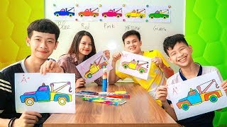 Kids Go to School Learn Colors with Toy Tow Truck! Color Song Nursery Rhymes