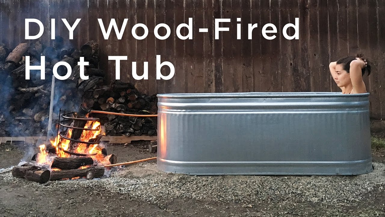 Diy wood fired hot tub youtube for D i y bathroom installations