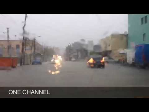 Driving into a rainy storm
