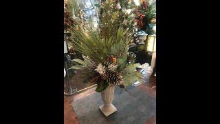 DIY Winter Grape Leaf & Pine Floral Design