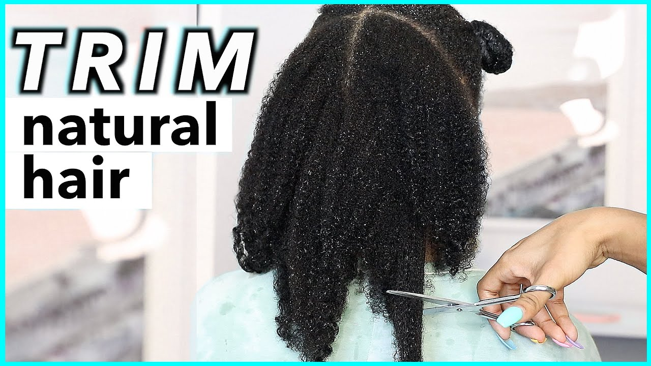 How To Trim NATURAL HAIR without HEAT! (very detailed)