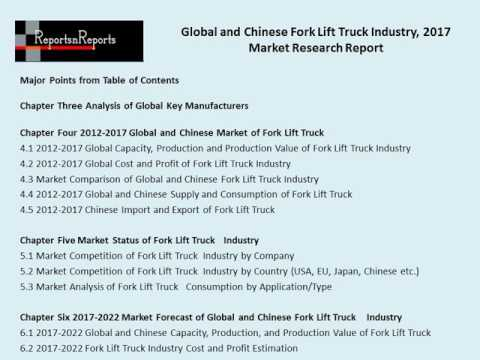 Global and Chinese Fork Lift Truck Industry, 2017 Market Research Report