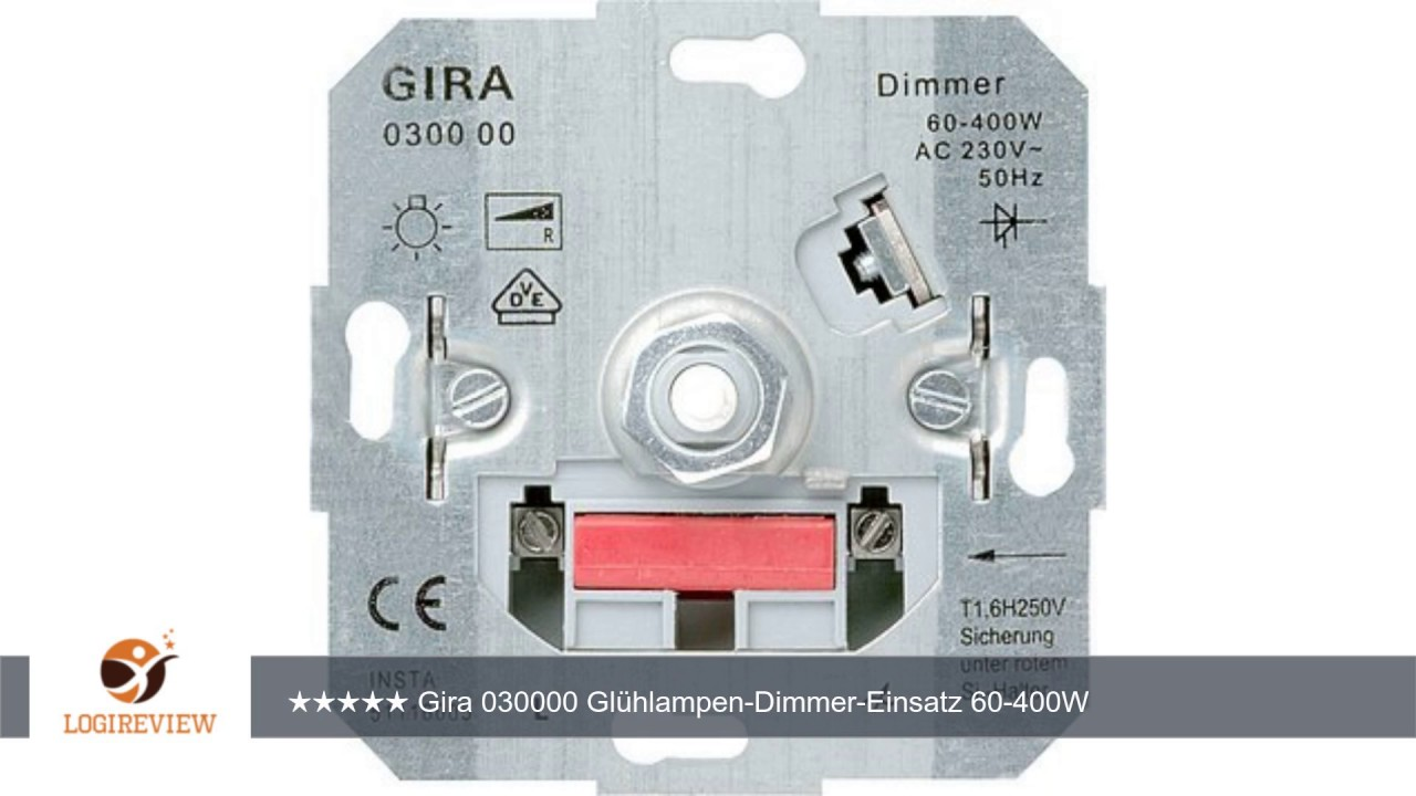 gira 030000 gl hlampen dimmer einsatz 60 400w m dreh ausschalter erfahrungsbericht review test. Black Bedroom Furniture Sets. Home Design Ideas