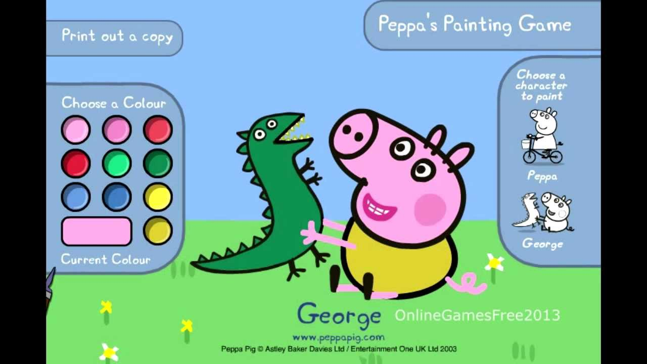 Peppa pig games online peppa 39 s painting game youtube for Painting games com