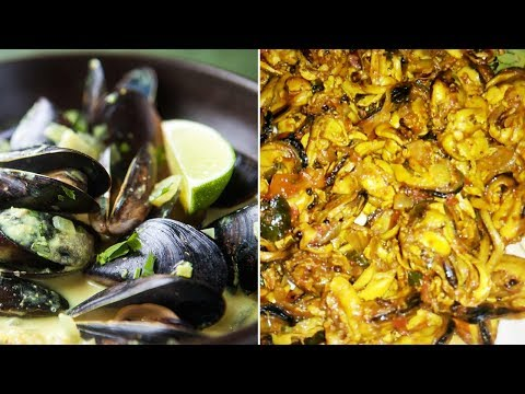 how to clean mussels and cook   fry mussels recipe