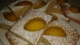 Как приготовить миндальное пирожное с персиком