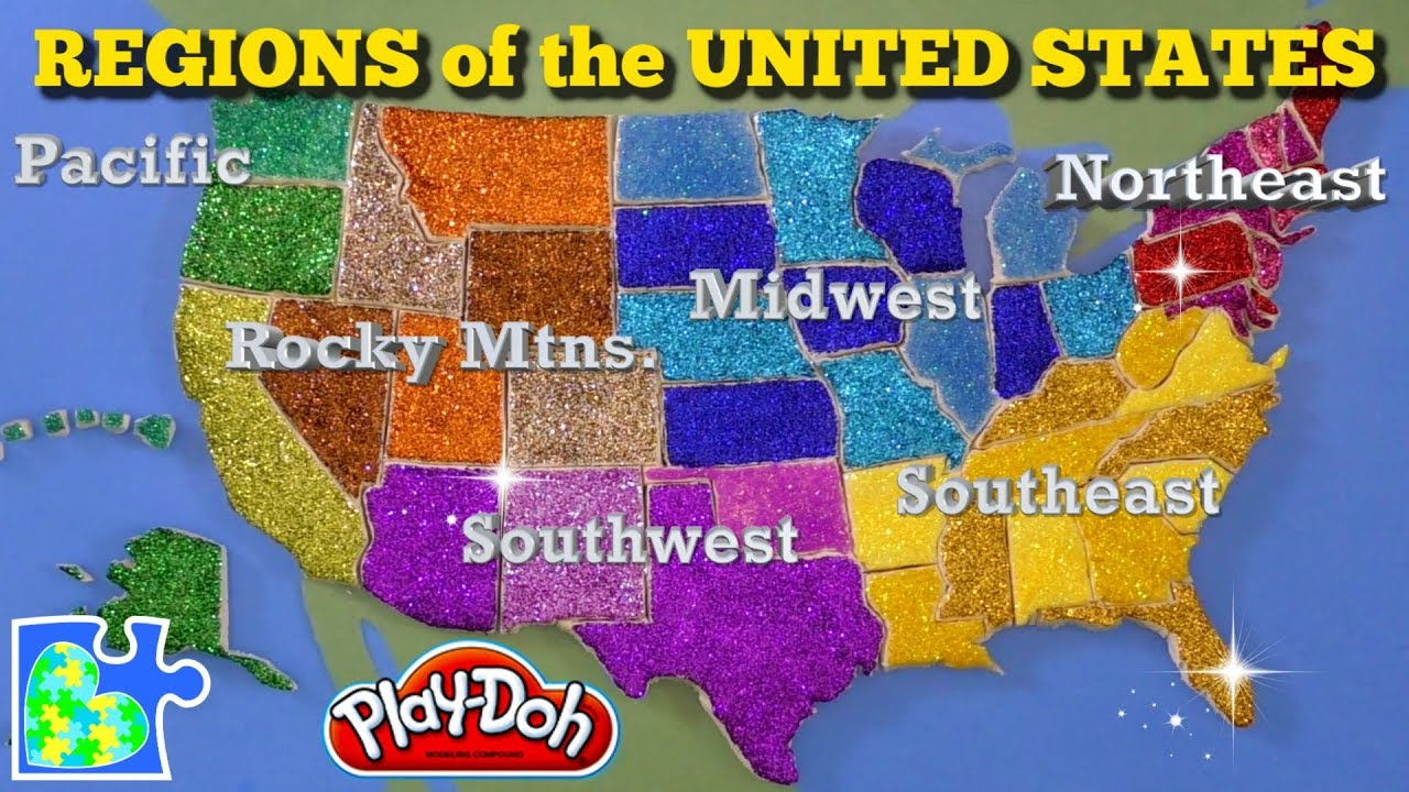 United States Map || Regions of the USA || Learn the States! || Play-Doh Map