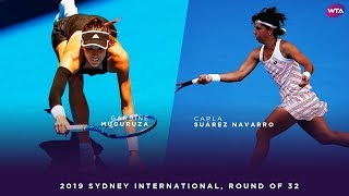 Garbiñe Muguruza vs. Carla Suárez Navarro   2019 Sydney International Round of 32   WTA Highlights