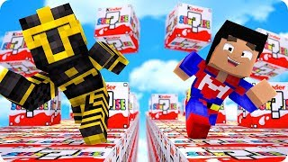 CARRERA DE LUCKY BLOCKS DE KINDER EN MINECRAFT 😱