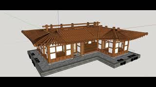ㄱ자 20평 한옥 스케치업(sketchup) 3D 한옥…
