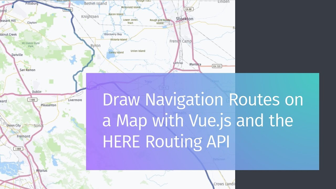 Draw Navigation Routes on a Map with Vue js and the HERE Routing API