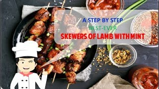 EASY AND YUMMY SKEWERS OF LAMB WITH MINT