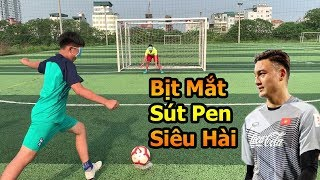 Thử Thách Bóng Đá hài nhất Việt Nam bịt mắt sút Penalty với thủ môn Đặng Văn Lâm Nhí  VS Neymar nhí