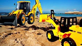 Машинки.  Мультики про машинки. Мультики для самых маленьких. Игры на пляже. Трактор убирает пляж