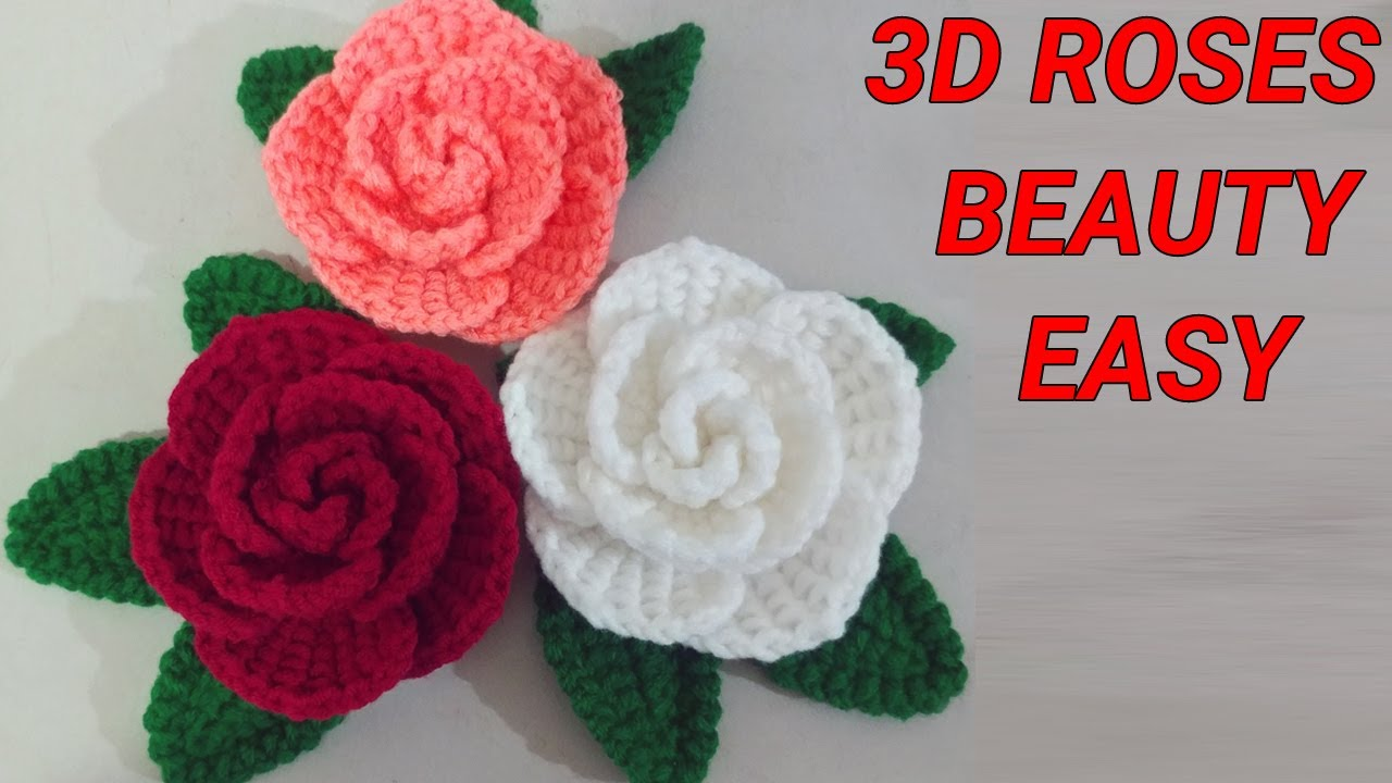 Crochet Small Rose Flower for Scarf & Hat – Engsub | Móc hoa hồng cho khăn và mũ