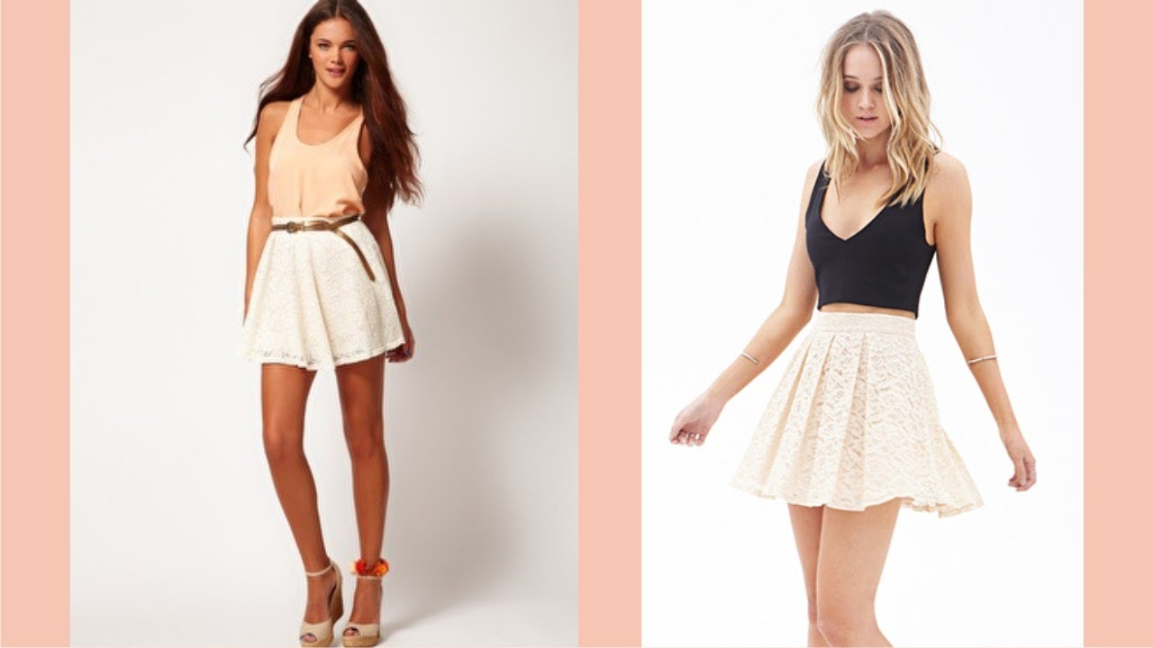 b1318b76cce1 Cream Lace Skater Skirt - YouTube