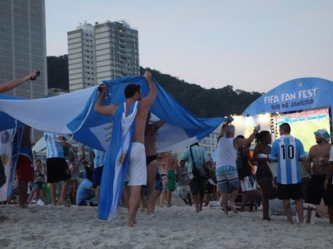 Argentina fans singing and chanting at Copacabana beach in Rio during 2014 FIFA World Cup