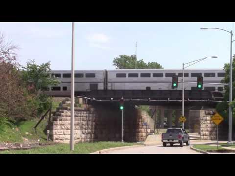 Amtrak train with Pullman coaches at the end in La Grange, Il.