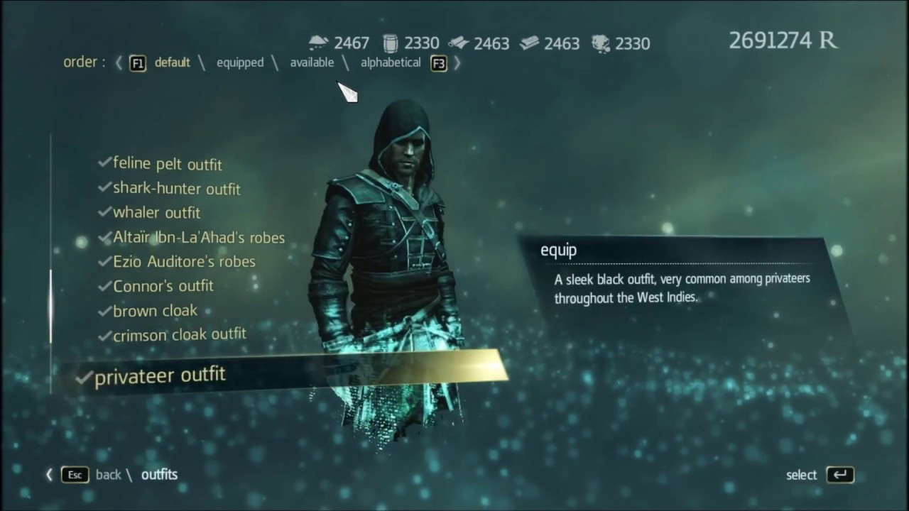 Assassin S Creed 4 Black Flag Unlock All Outfit And Weapon