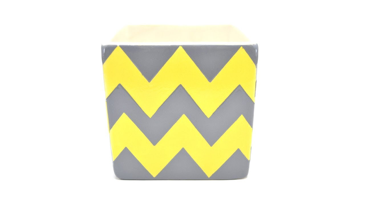 How To Paint Pottery Chevron Pattern Youtube
