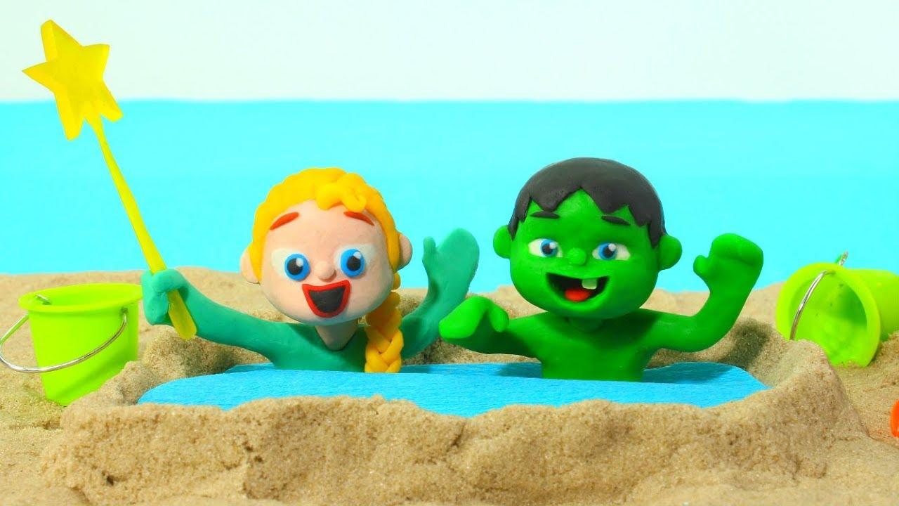 SUPERHERO BABIES BUILD A SAND POOL ❤ SUPERHERO BABIES PLAY DOH CARTOONS FOR KIDS