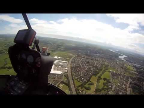 Helicopter flight over Derry City