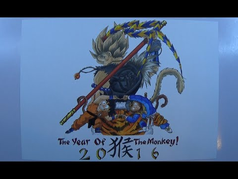 Time Lapse Drawing - The True Monkey King! Son Goku and Sun Wukong - FU~SION HA!