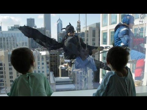 Superhero window washers descend on Lurie Children's Hospital