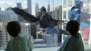Superhero window washers descend on Lurie Children