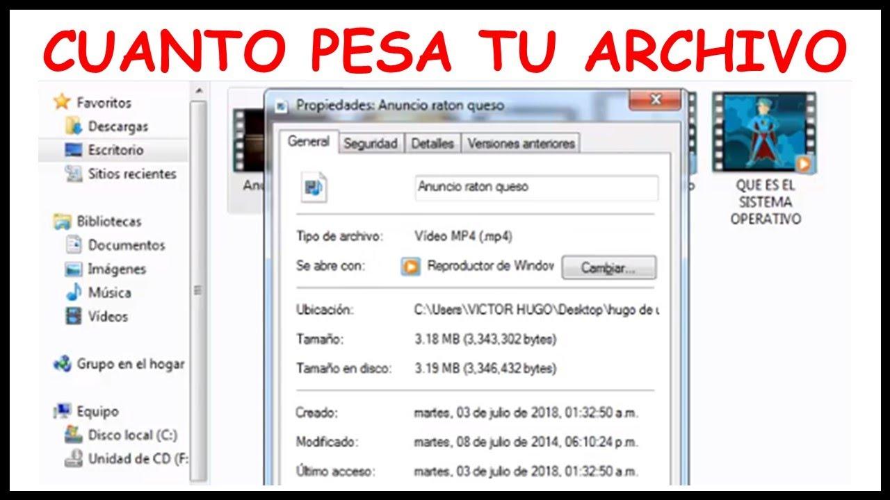 Como Saber Cuanto Pesa Un Video Cuanto Pesa Mi Video Mp4 Donde Se Vé El Peso De Un Archivo Youtube