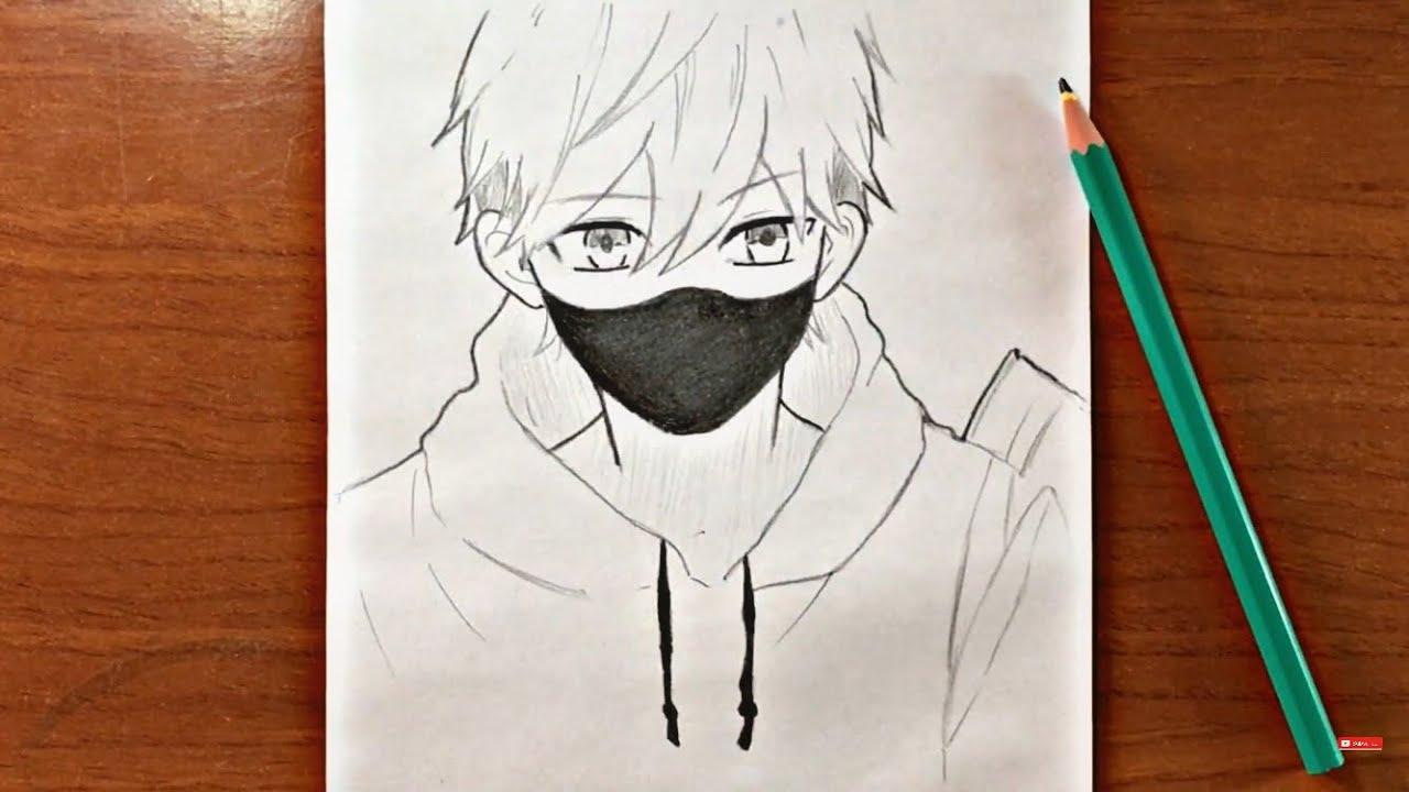 رسم انمي حزين تعليم رسم ولد يرتدي كمامة بالرصاص للمبتدئين Youtube