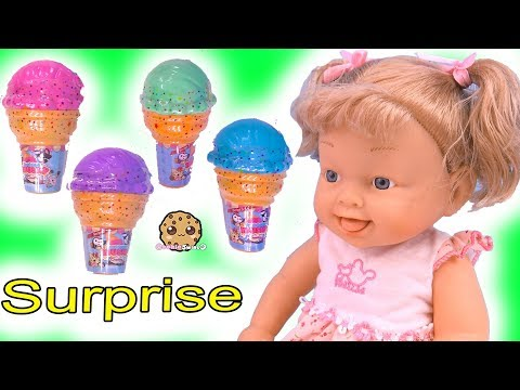 Ice Cream Surprise Toys ! Squishy Animals !! Cookie Swirl C Toy Video