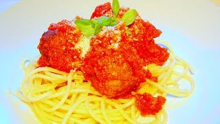 Spaghetti Meatballs  in tomato sauce How to cook recipe Italian food