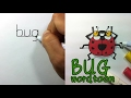 Very Easy ! How to turn words BUG into a Cartoon, the art-games on paper for kids