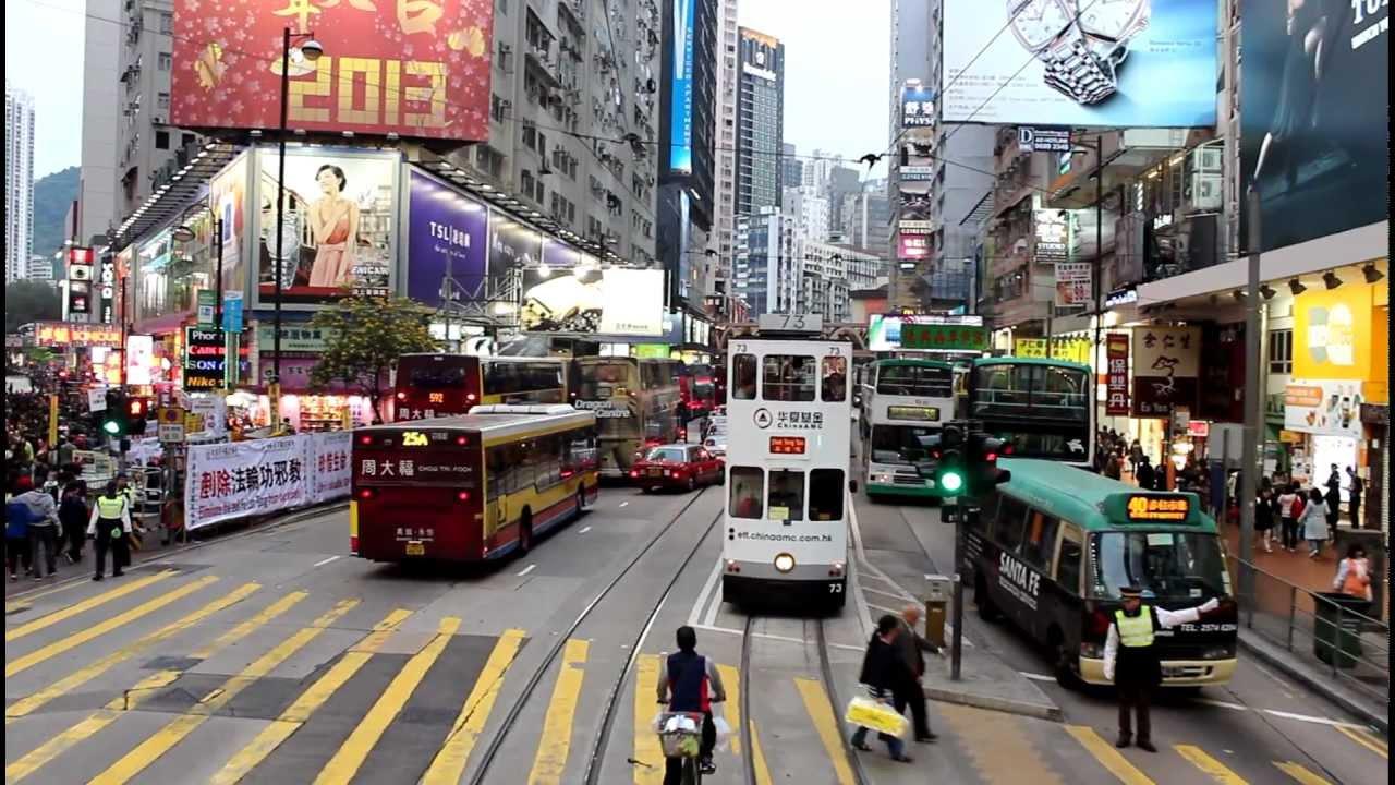 Двухэтажный трамвай в Гонконге. Тур по городу (Hongkong) - YouTube