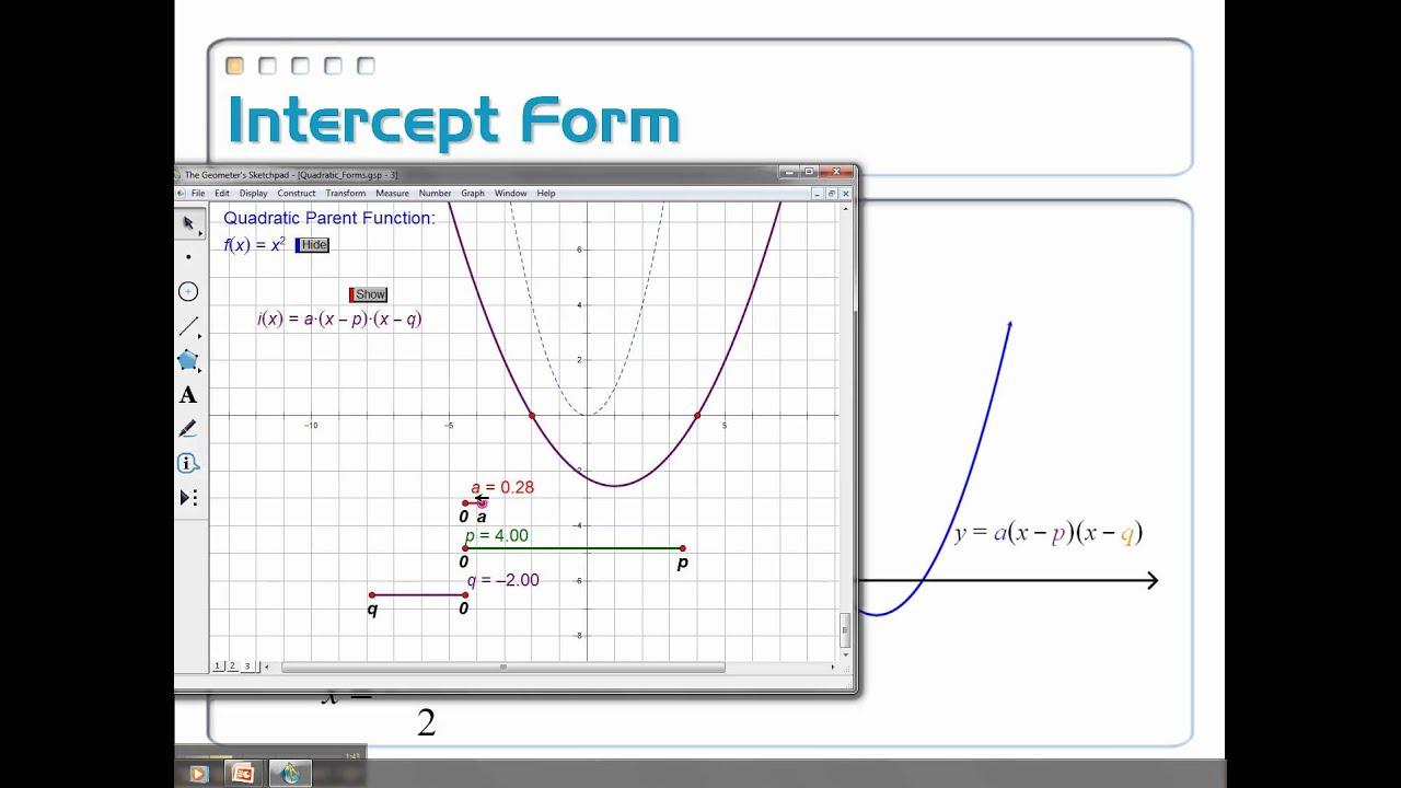 4 2 Quadratic Functions In Intercept Form Part 1