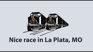 TRAIN RACE FROM 3 VIEWS!  LA PLATA, MO