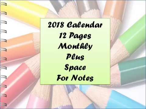 Printable 2018 Wall Calendar To Color in **Adult Coloring Fun