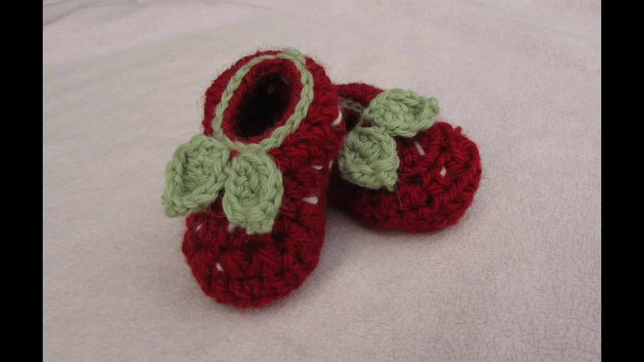 VERY EASY crochet strawberry baby booties - crochet shoes ...